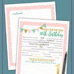 Girl s First Birthday Time Capsule Letter Printable Mad