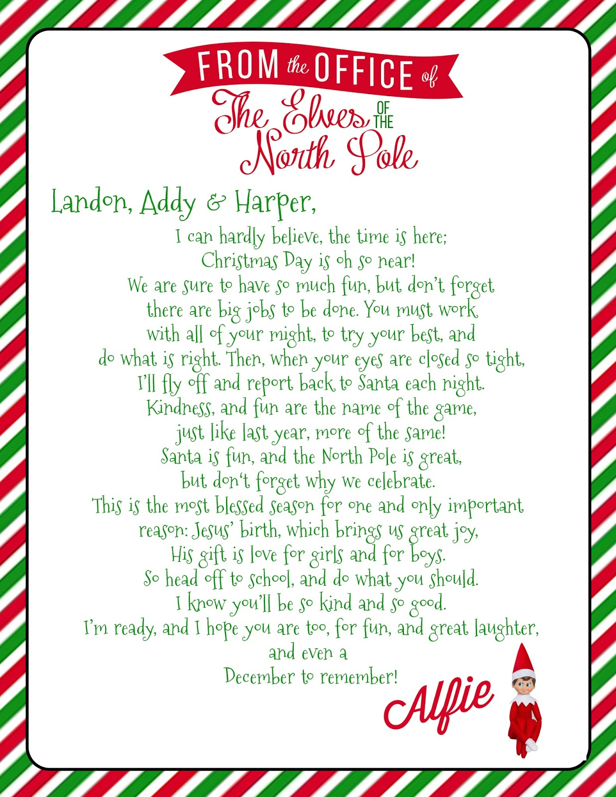 Growing Up Godbold Elf On The Shelf Welcome Letter With