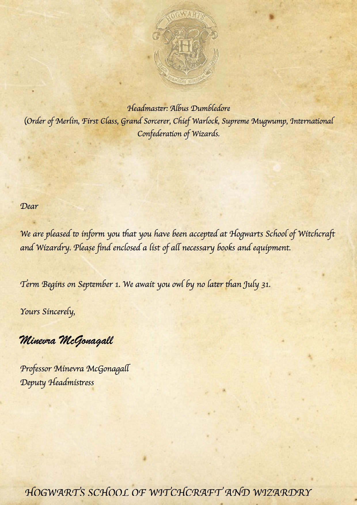 Hogwarts Acceptance Letter Envelope Template Printable