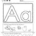 Letter A Coloring Worksheet Free Kindergarten English
