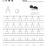 Letter a writing practice worksheet printable Free