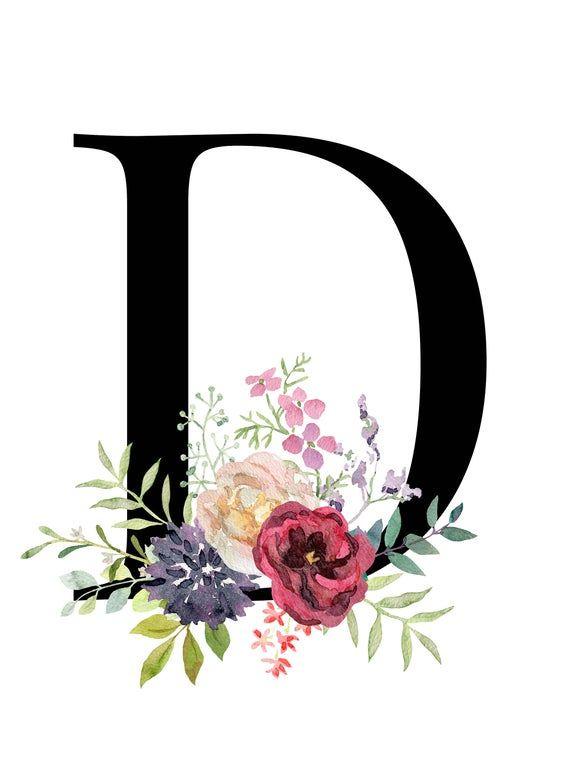 Letter D Floral Monogram Printable Letter Nursery Art