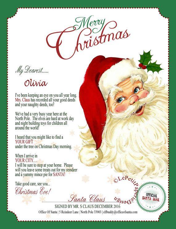 Letter From Santa Printable Editable Letter From Santa