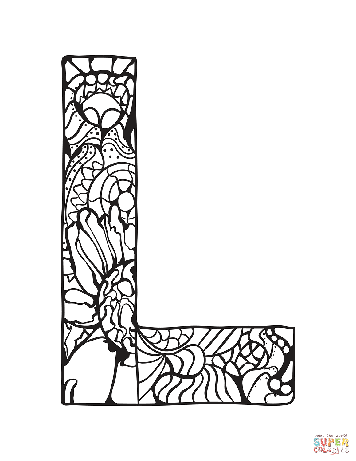 Letter L Zentangle Coloring Page Free Printable Coloring