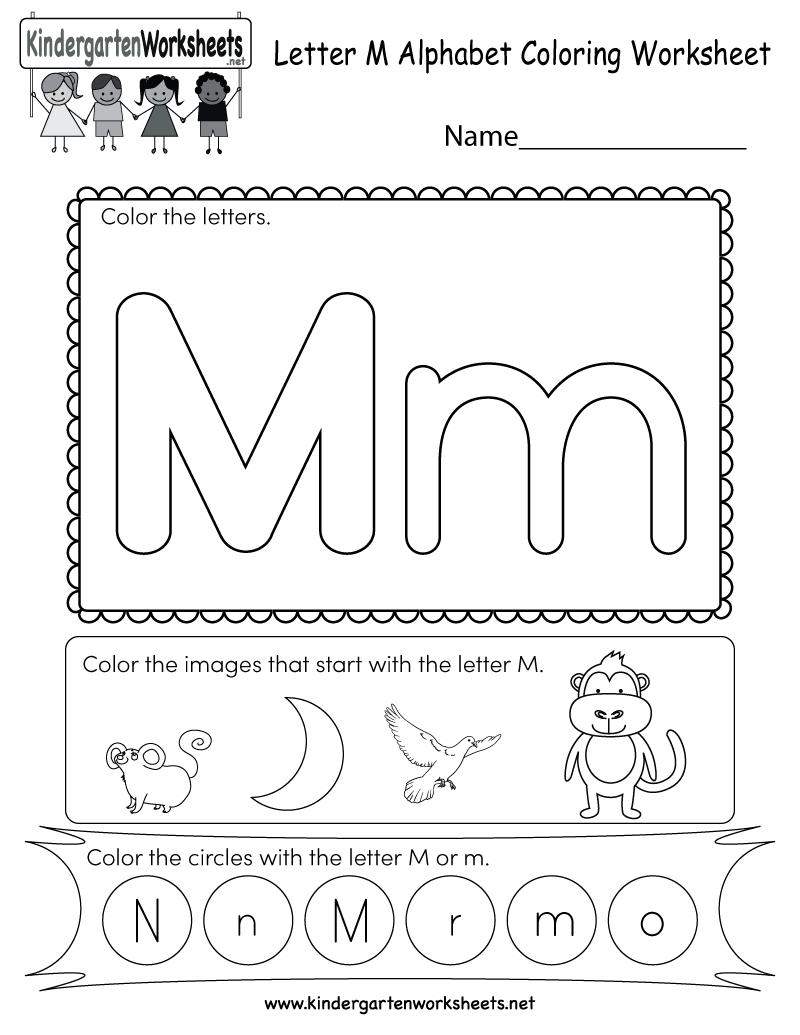 Letter M Coloring Worksheet Free Kindergarten English