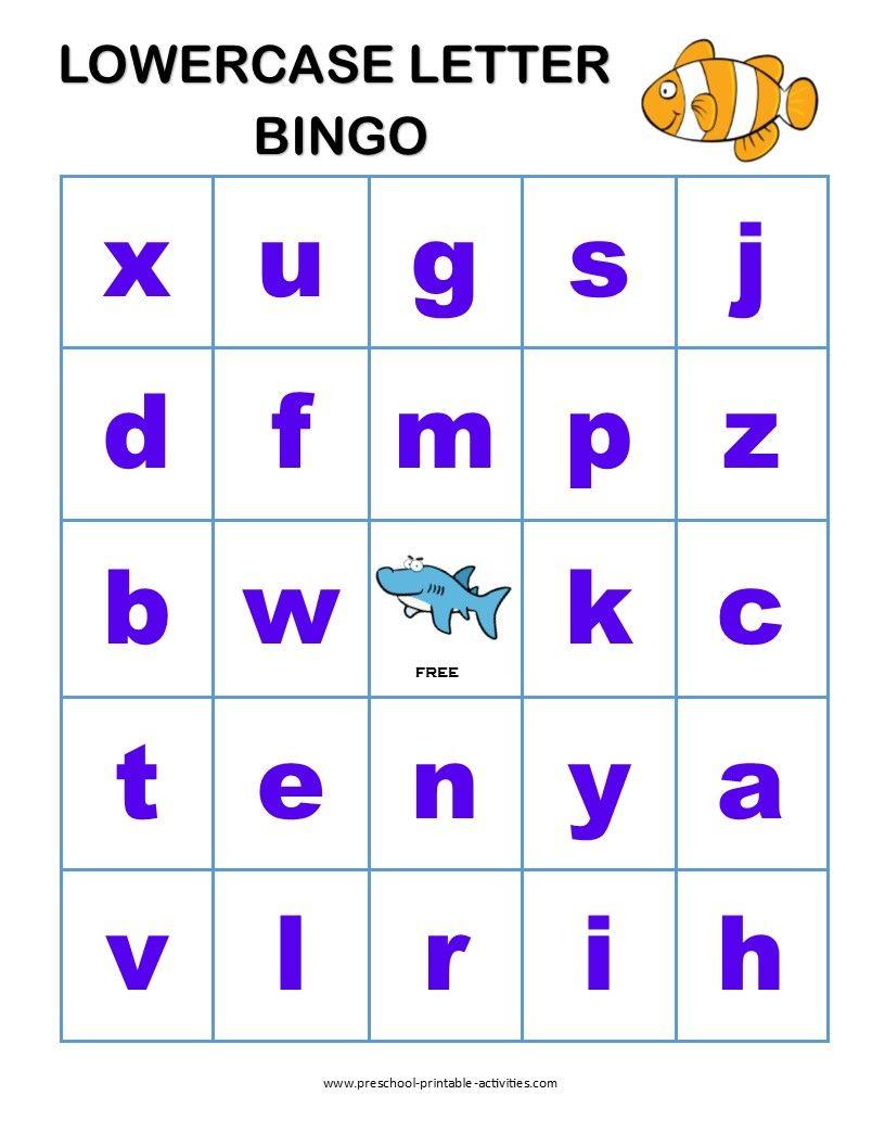 Letter Recognition Bingo Games Letter Recognition Games