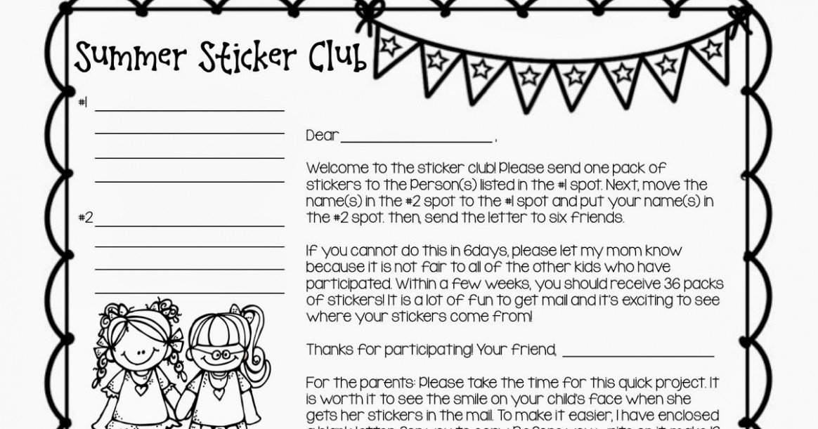 Letter Template Sticker Club Chain Letter Top Five