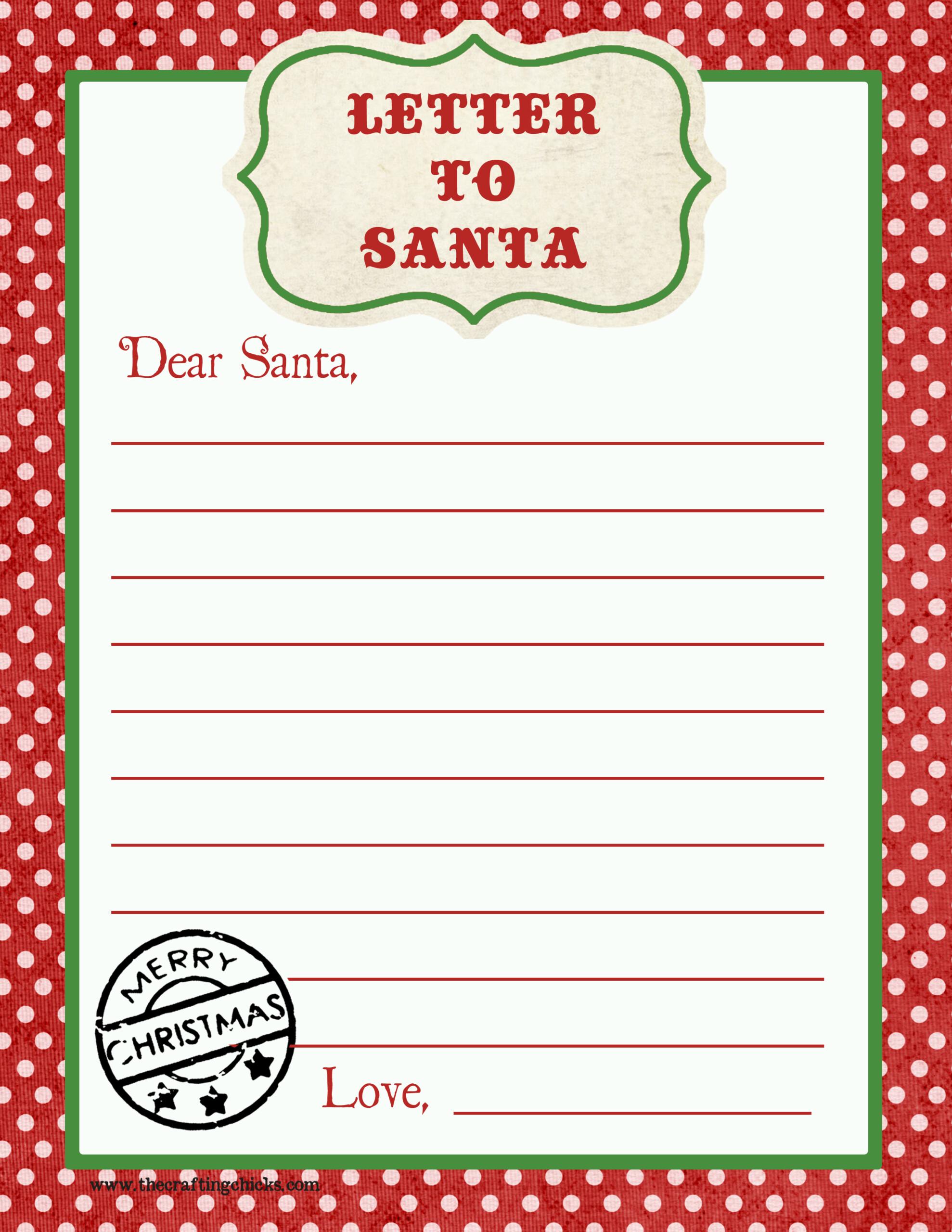 Letter To Santa Free Printable Download