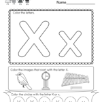 Letter X Coloring Worksheet Free Kindergarten English
