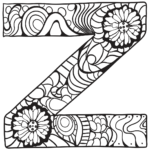Letter Z Zentangle Coloring Page Free Printable Coloring