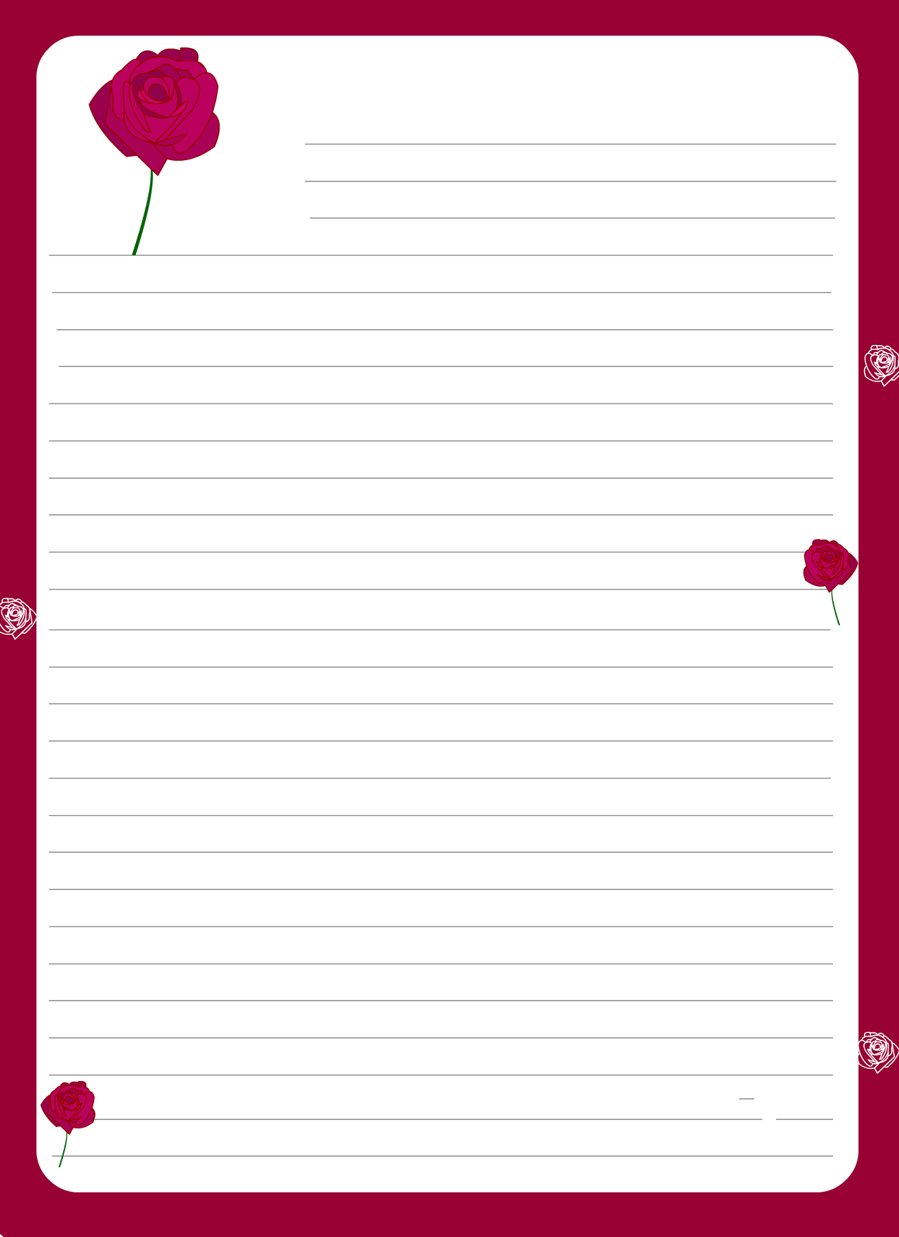 Lined Paper For Writing Writing Paper Printable