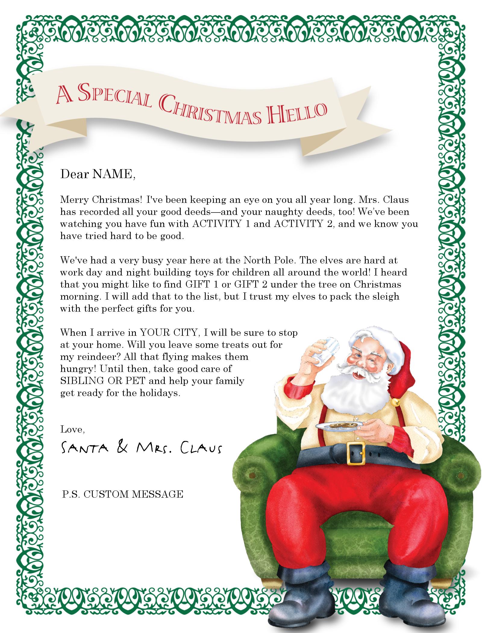 North Pole Santa Letter Santa Letter Template Free