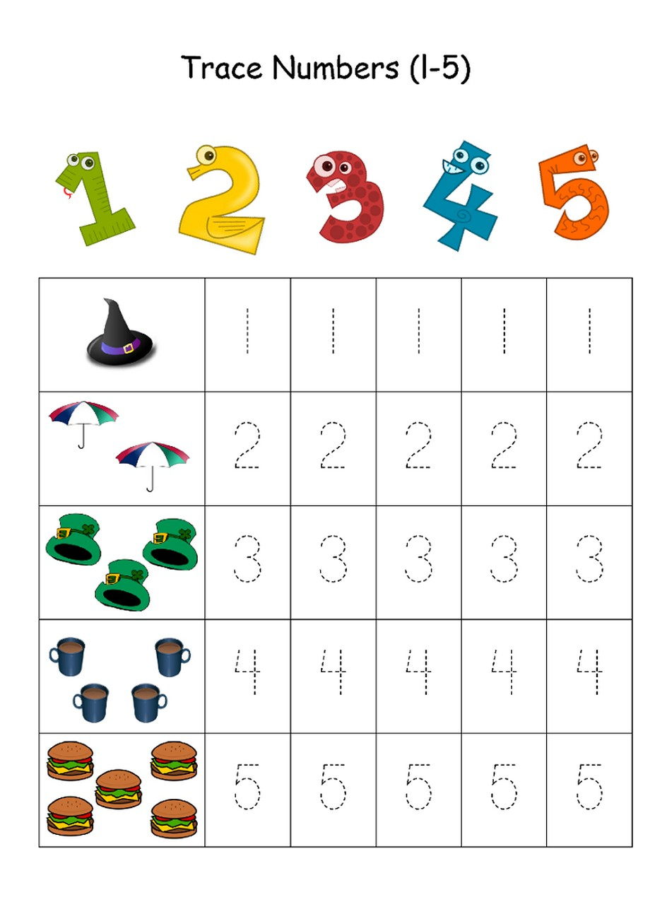 Numbers 1 5 Traceable Learning Printable