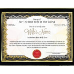 Personalized Award Certificate For Worlds Best Wife With Frame