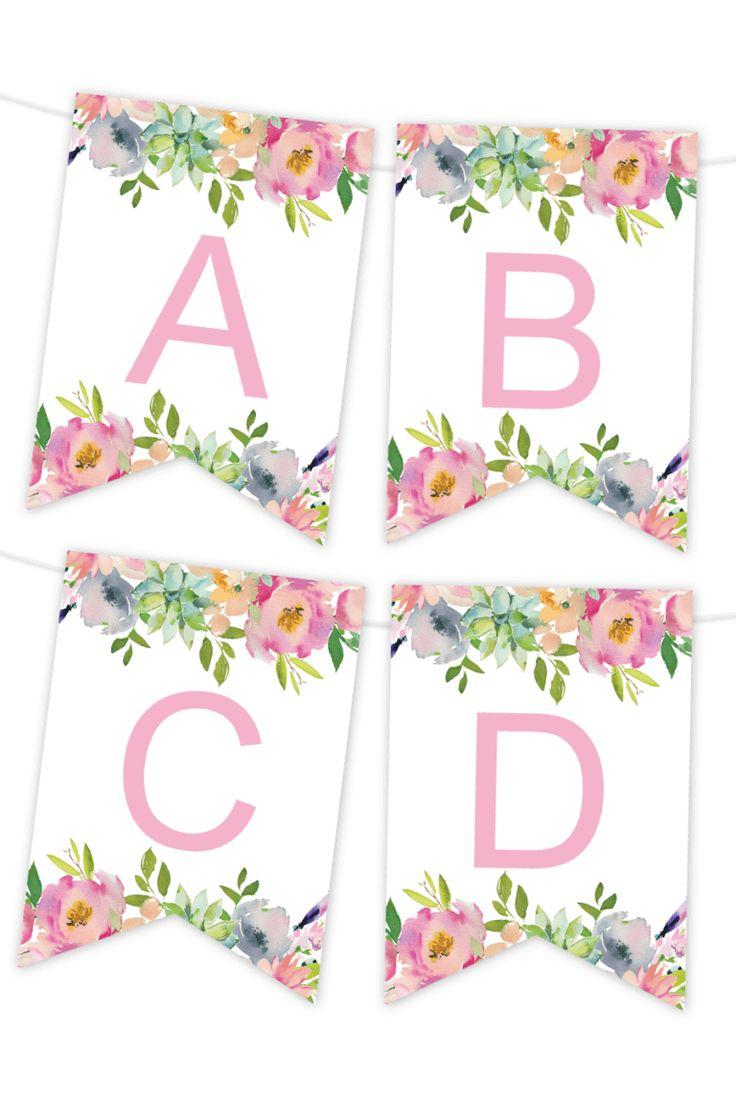 Pink Floral Printable Banner Birthday Banner Free