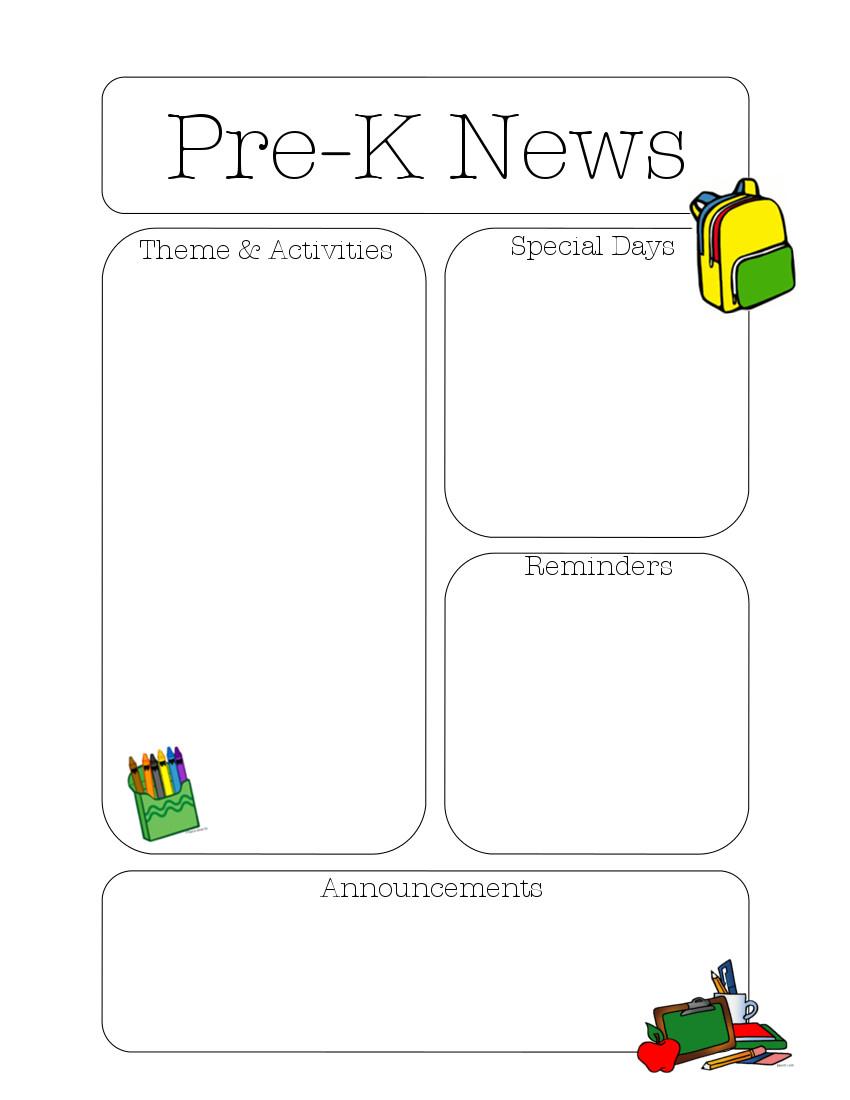 Pre K Newsletter Template The Crafty Teacher