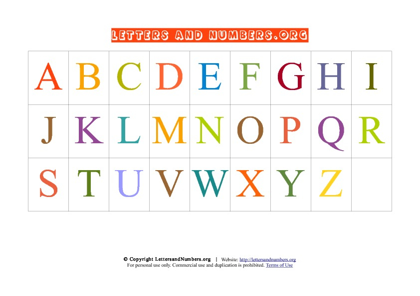 Printable A Z Letter Chart In Uppercase Letters And