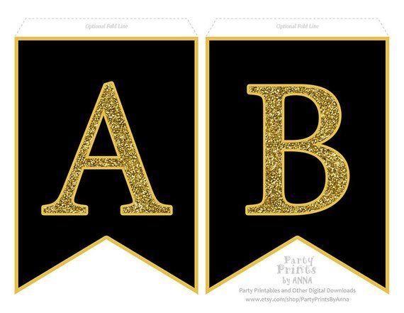 Printable Alphabet Letter Banner Gold Glitter On Black A Z