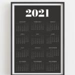 Printable Calendar 2021 Yearly Wall Calendar Year At A