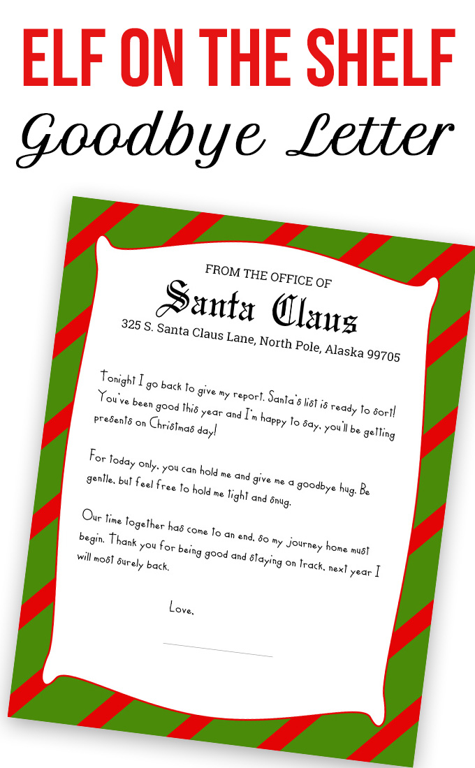 Printable Elf On The Shelf Goodbye Letter Template Gubel
