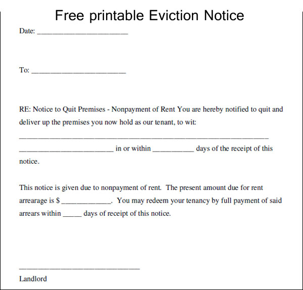 Printable Eviction Notice Template Business