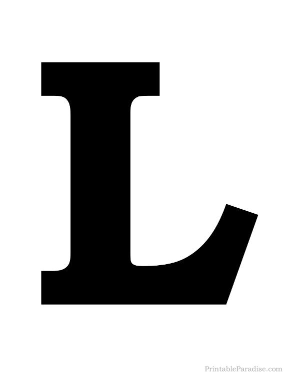 Printable Letter L Silhouette Print Solid Black Letter L