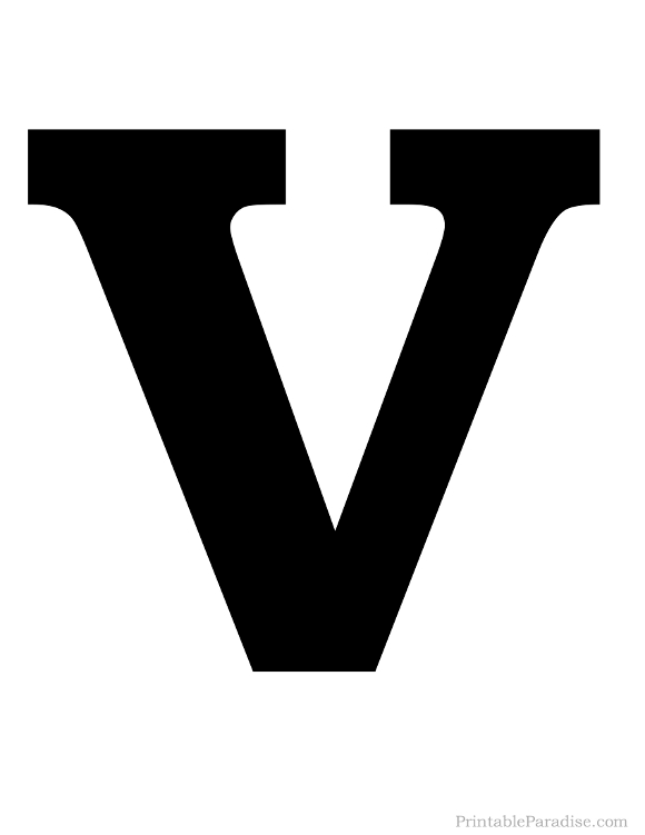 Printable Letter V Silhouette Print Solid Black Letter V