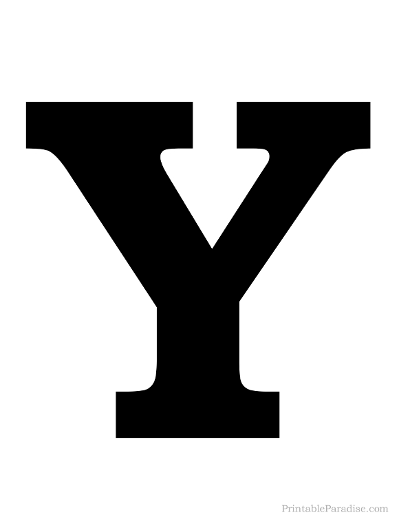 Printable Letter Y Silhouette Print Solid Black Letter Y