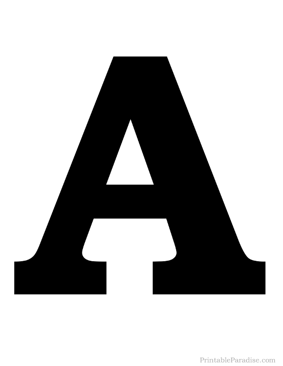 Printable Solid Black Letter A Silhouette Alphabet