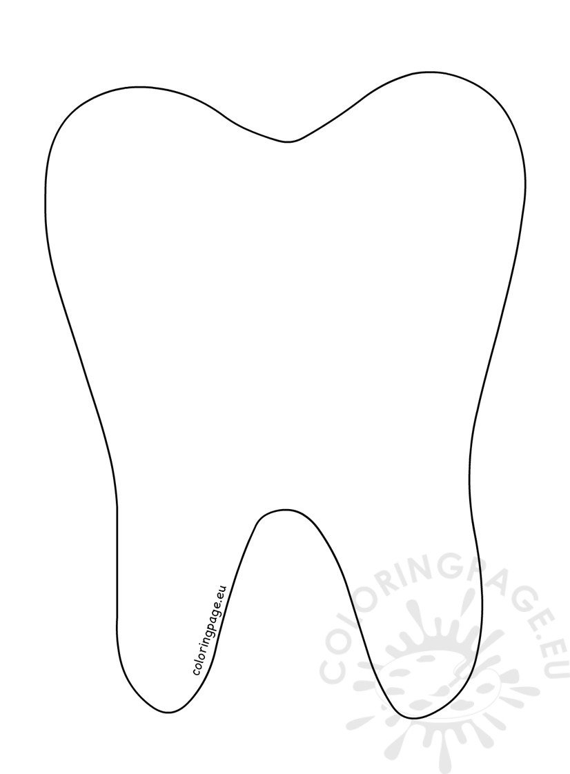 Printable Tooth Outline Coloring Page