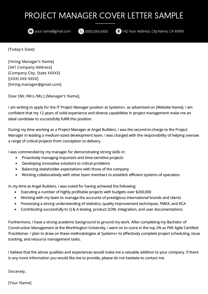 Project Manager Cover Letter Example Writing Tips
