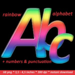 Rainbow Alphabet Clipart Colorful Printable Digital Font With
