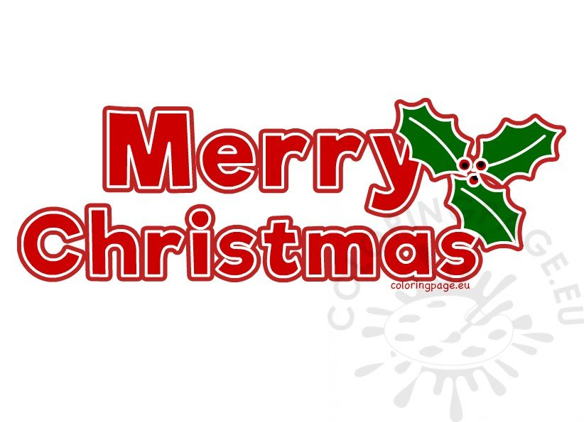 Red Merry Christmas Letters Printable Coloring Page