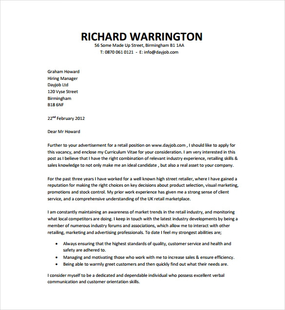Sample Cover Letter For Job Application Free Templates