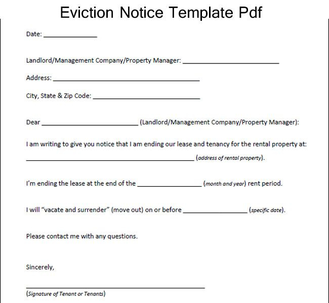 Sample Eviction Notice Template Pdf Eviction Notice