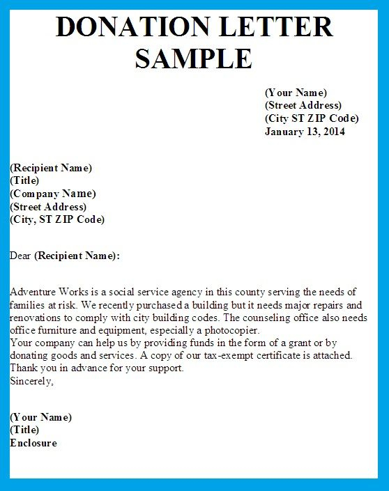 Sample Letters Asking For Donations Donation Letter