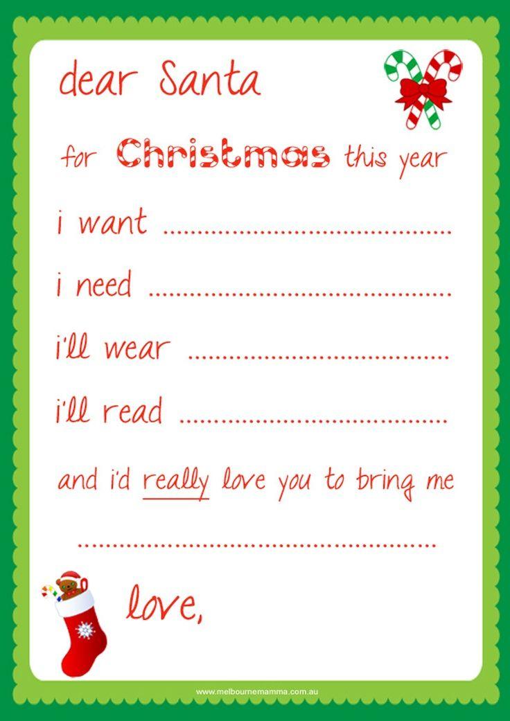 Santa Letter Template Free Printable Free Dear Santa