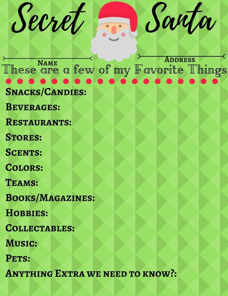 Secret Santa Questionnaire Secret Santa Questions Secret