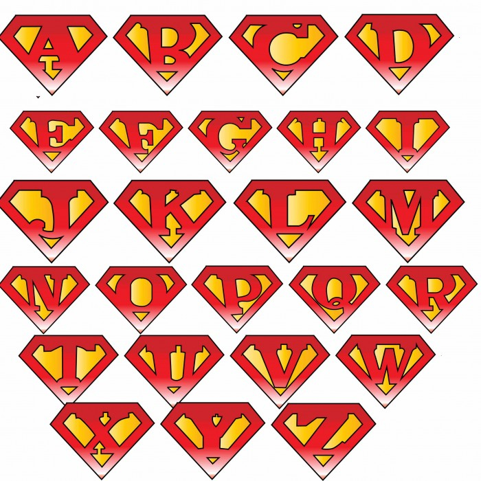Superman Symbol With Different Letters Cliparts co
