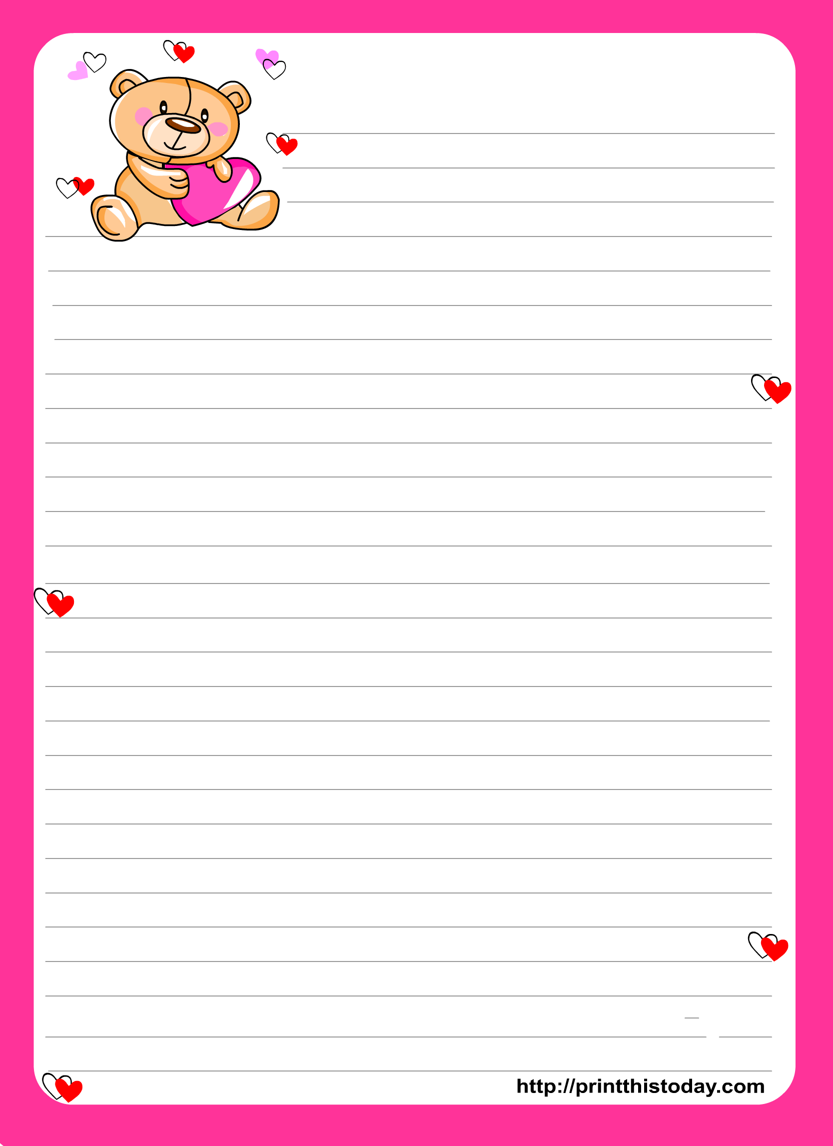 Teddy Bear Writing Paper For Kids Free Printable