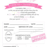 Tooth Fairy Certificate PINK INSTANT DOWNLOAD