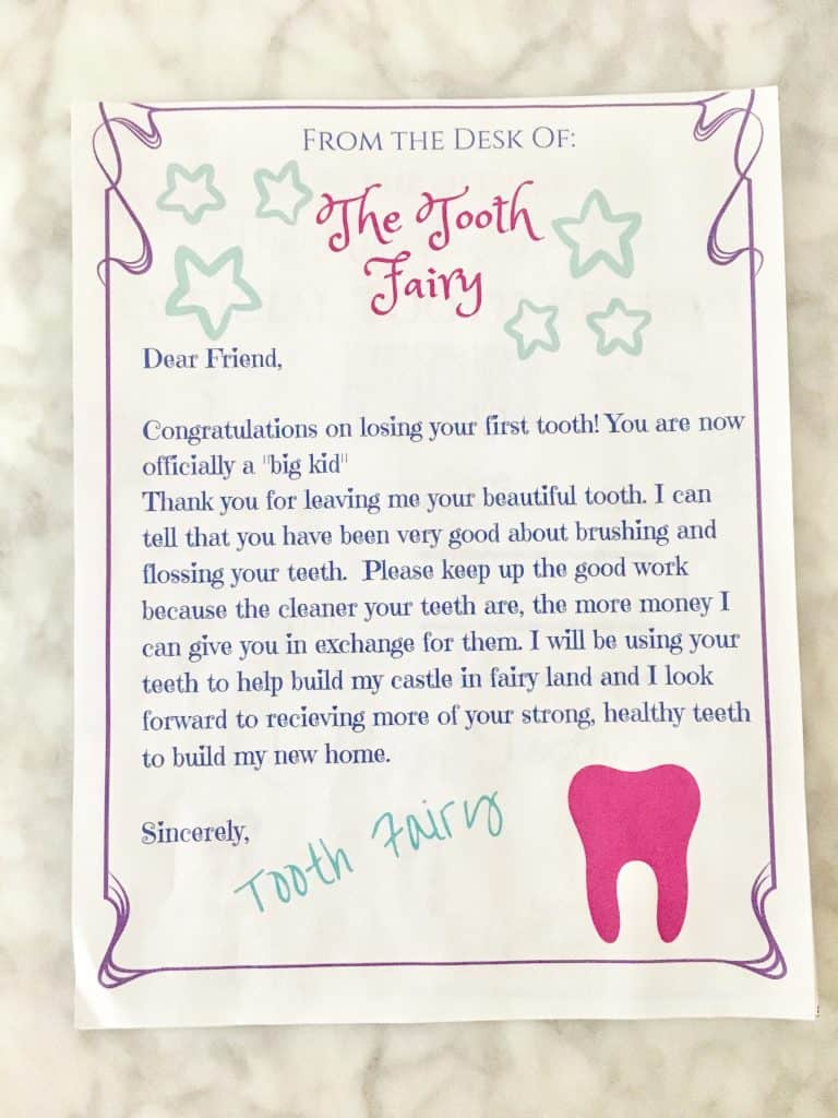 Tooth Fairy Receipt And Letter Printables Crafty Little
