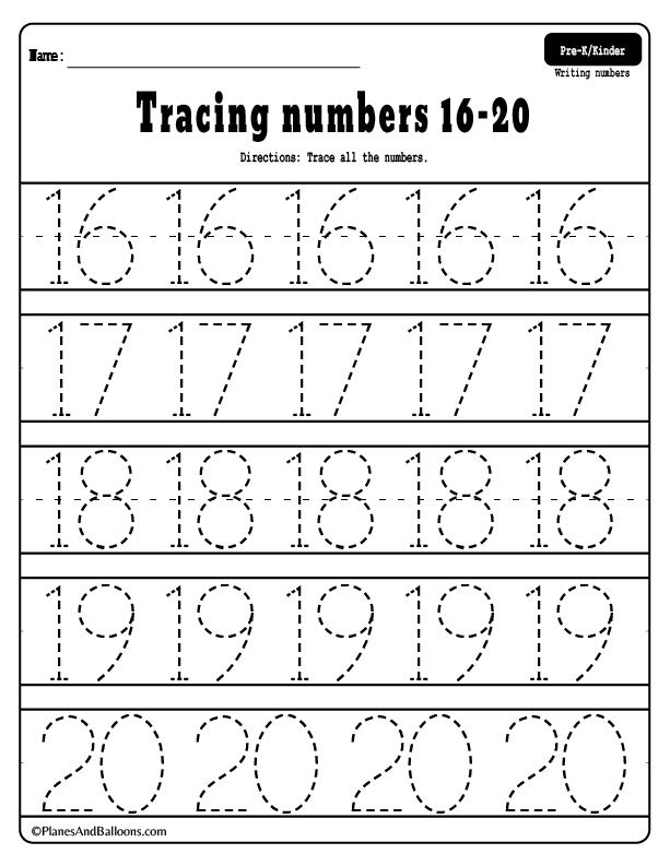 Tracing Numbers 1 20 Free Printable Worksheets Learning
