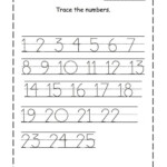 Tracing Numbers 1 25 For Kg Page Numbers Preschool
