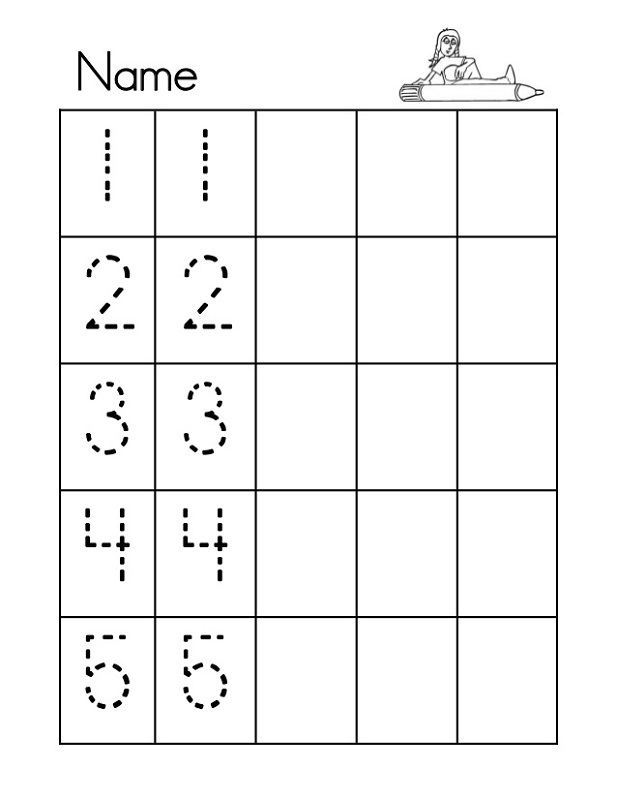 Tracing Numbers 1 5 Printable Kids Learning Activity