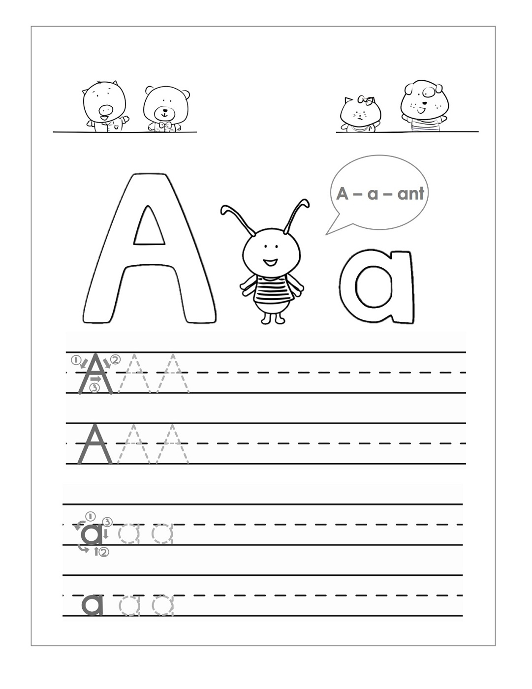 Tracing The Letter A Free Printable Activity Shelter