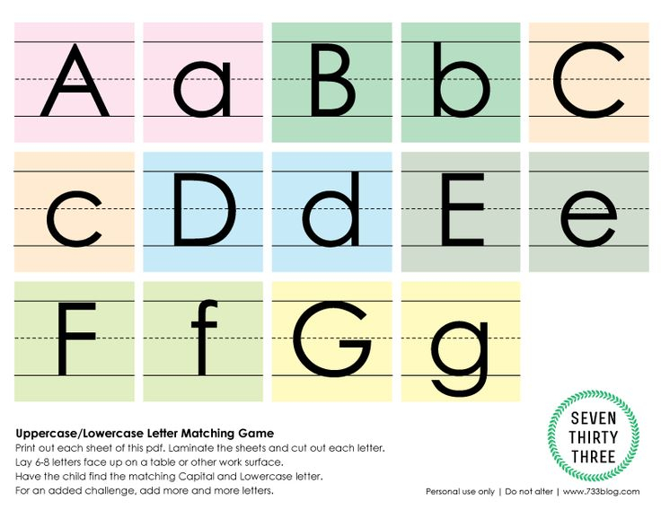 Uppercase Lowercase Matching Game Free Printable Letter