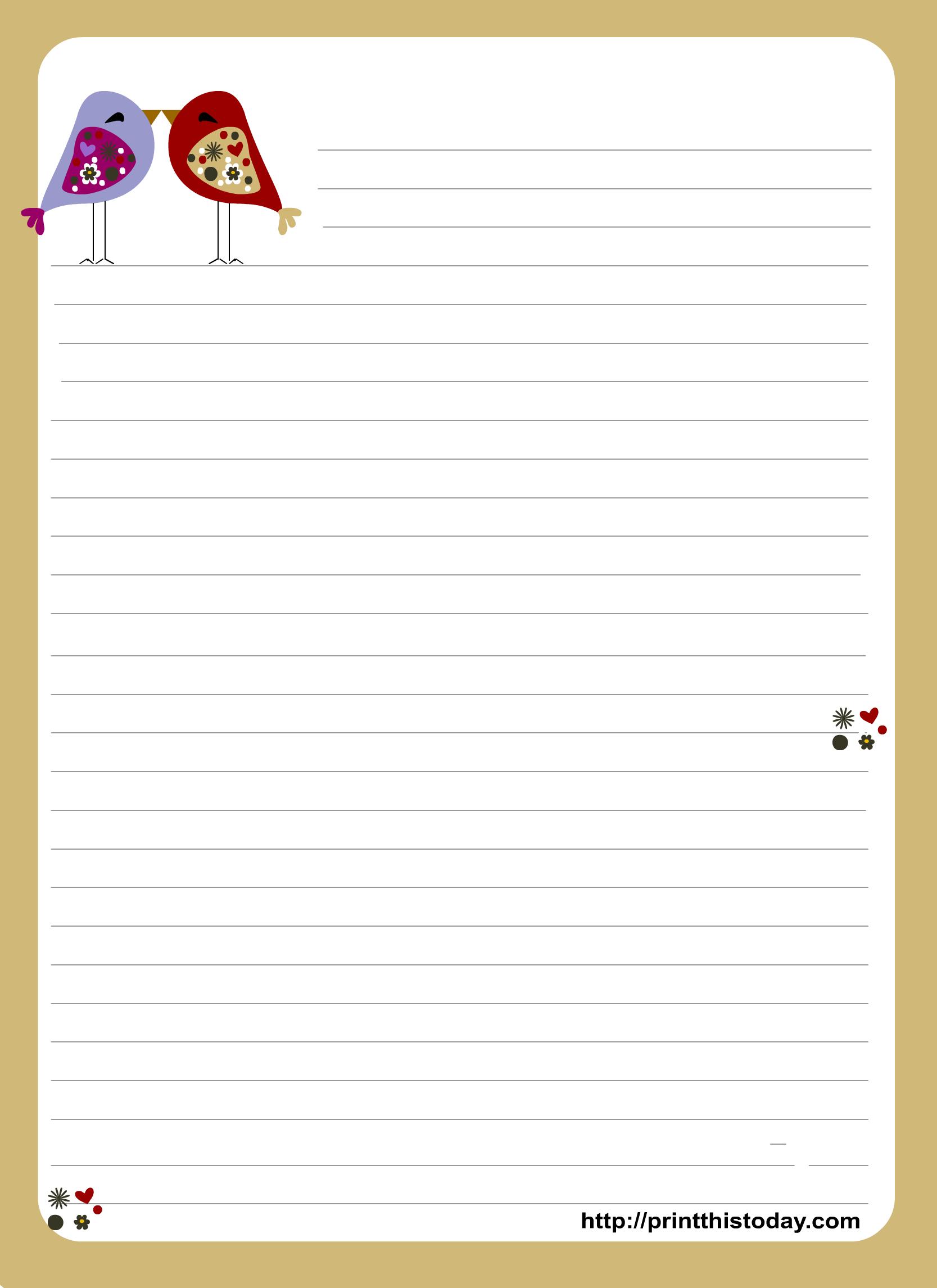Valentine Stationery Free Printable Stationery Letter